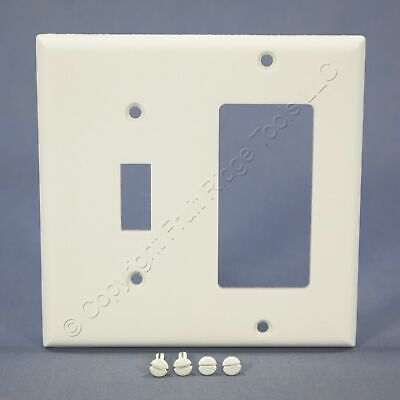 Eagle White 2G Decorator GFCI Switch Cover Receptacle Thermoset Wallplate 2153W