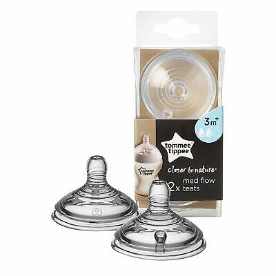 2Pc Tommee Tippee Closer to Nature Medium Flow Teats Nipples Bottle Baby Feeding