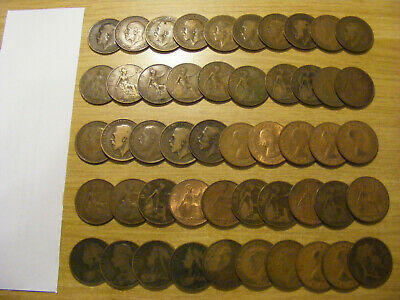 A Collection of 50 x Victoria to George VI One Penny Coins -   ok some worn
