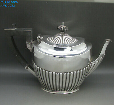 ANTIQUE VICTORIAN HEAVY SOLID STERLING SILVER TEAPOT BY JD&S 527g SHEFFIELD 1897
