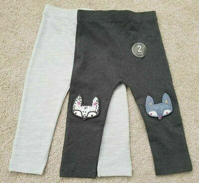 New Baby Girls Leggings 2 Pack Grey Age 3-6, 6-9, 9-12, 18-24 Months