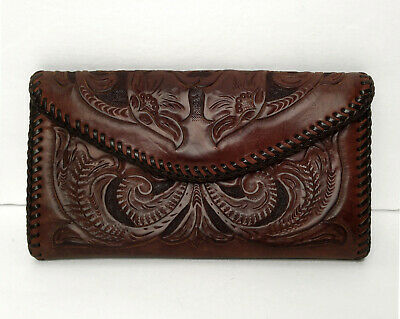 Vintage Brown & Black Hand Tooled Leather Wallet Checkbook Clutch Coin Purse