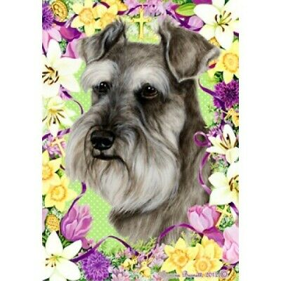 Easter House Flag - Uncropped Grey Schnauzer 33140