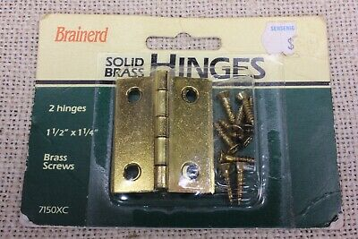 "2 vintage door butt hinges solid brass small 1 1/2 x 1 1/4"" jewelry box Brainerd"