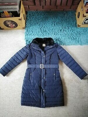 TU Navy Blue Padded Belted Faux Fur Collar Winter Coat Size 10 Gorgeous