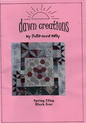 Patchwork quilt pattern. 'Spring Fling' Block 4..With additional embroidery