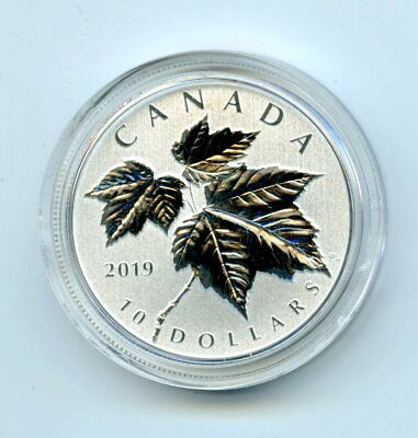 2019 Canada $10 1/2Oz .9999 Silver Maple Leaf Leaves In A Plastic Capsule