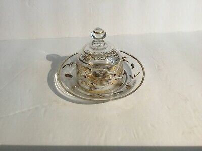 Antique Victorian Glass Domed Butter Dish Handpainted Insects/ Leaves on Plate