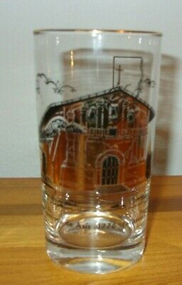 Mid Century California Mission San Francisco Gold Black Drinking Glass Tumbler