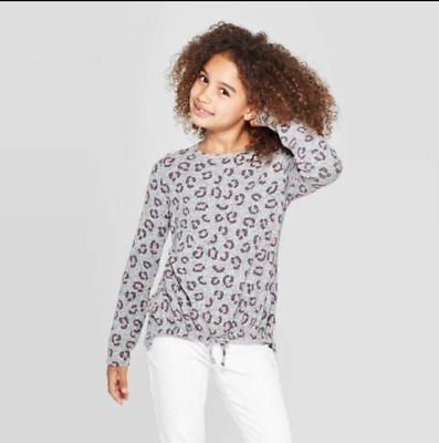 Cat & Jack Girls' Cozy Long Sleeve Animal Print Top GRAY - XS Small XL #2-a90