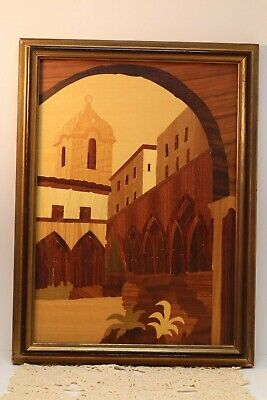 Vintage Italian Wood Picture Inlaid Marquetry Wall Hanging Made In Italy