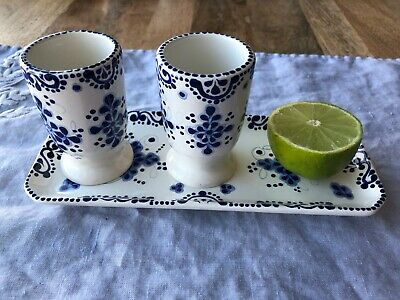 Perfect Pair Tequila Shot Glasses and Dish   Ceramic Hand Painted (Poblano)