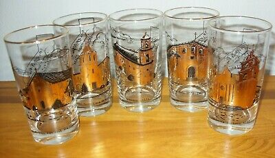 5 Mid Century California Mission Gold Black 10 Oz Drinking Glasses Tumblers