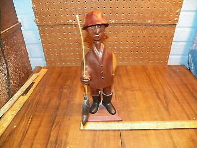 Vintage ROMER Hand Carved Fisherman Wood Sculpture - Made In Italy