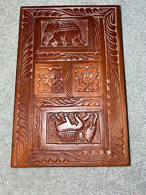 Vintage Hand Carved  Wooden Book With Secret Hidden Chamber