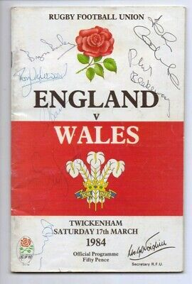 1984 England v Wales Rugby Union programme HAND SIGNED by 6 England players