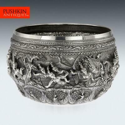 ANTIQUE 19thC BURMESE SOLID SILVER THABEIK BOWL, RANGOON c.1880