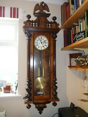 Antique Victorian Vienna Regulator Weight Driven Wall Clock