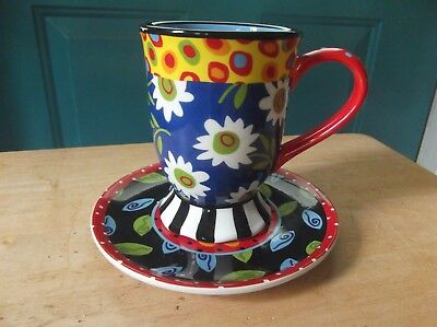 Certified International Colorful Tea Party Pottery Coffee Cup Mug and Plate