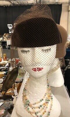 Vintage Brown Velour Pillbox Hat With Netting