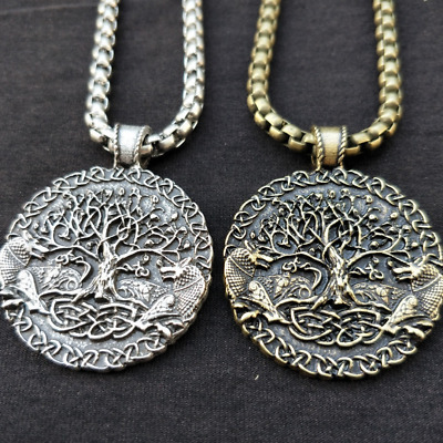 Mens Norse Viking Amulet Fenrir Wolfs Celtic Tree of Life Steel Pendant Necklace