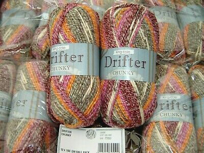King Cole Drifter Cotton / Wool / Acrylic Knitting Yarn lovely colours 14 x 100g