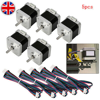 5pc Stepping Motors 2-Phase 40mm 1.5A For Ender 3 3D Printer/CNC Part+5pc Cables
