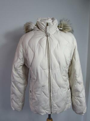 M & S PER UNA Cream Feather Down Padded Puffer Jacket Coat Fur Trim Hood Size M
