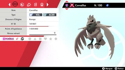 CORVAILLUS GigaMax Shiny + Masterball/Level 100/6IV/100% Légit /EPEE & BOUCLIER