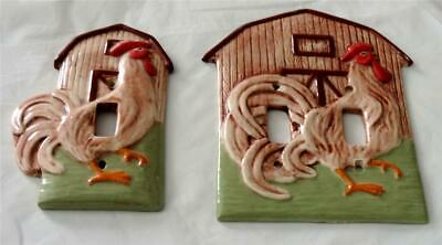 Vintage Handmade Ceramic Barnyard Rooster  Switch Plates 1 Single 1 Double