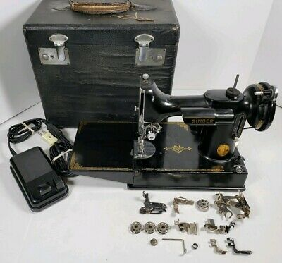 Vintage 1941 Singer 221 Featherweight 3-110 Portable Sewing Machine w/Case,etc..