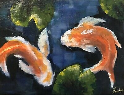 ACEO ATC Print Oil Painting Koi Garden Pond Animals Waterlily Landscape Signed
