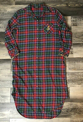 Women's Sleepwear Ralph LAUREN Red Plaid Long Gown Night Shirt Pockets M