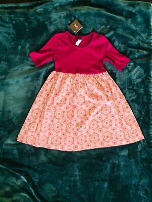 NWT Girls Tea Collection Pink Dress Size 7