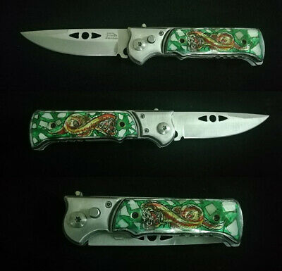 Tactical Force Assisted Pocket Folding Knife Custom Handle Pearl Inlay Art R-104