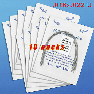 10 Dental Orthodontic Heat Thermal Activated Niti Rectangular Arch Wire 16*22U R