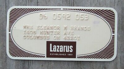 Vintage Lazarus Credit Charge Card Columbus Ohio Department Store 3 1/2 x 1 3/4""