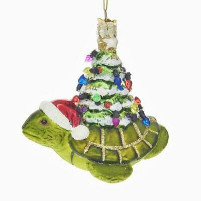 Noble Gems Turtle with Christmas Tree Glass Ornament 4 Inch NB1337 New