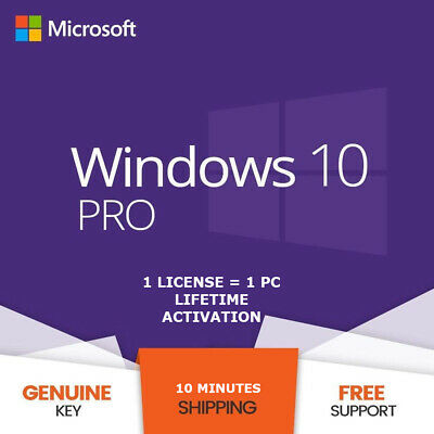 Windows 10 Pro 32/64 Bit Genuine License Key - Original Product Key Lifetime Use