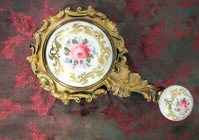 Antique Victorian Servants Rotary Call Bell Brass Porcelain Hand Painted French