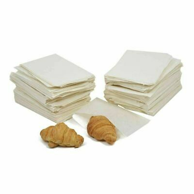 "100x Grease proof Flat Paper Bags Food Market Grocery Sandwich Bags - 6"" x 6"""