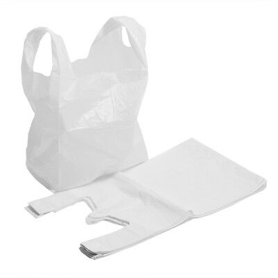 """100x Strong White Supermarket Plastic Vest Shopping Carrier Bags 11"""" x 17"""" x 21"""""""
