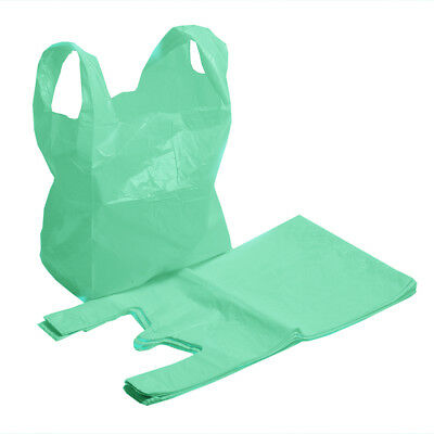 """100x Strong Green Supermarket Plastic Vest Shopping Carrier Bags 11"""" x 17"""" x 21"""""""
