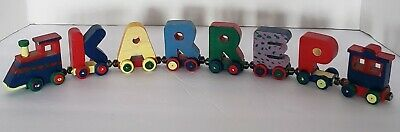 Lot of 8 Colorful Wooden Magnetic Alphabet Letter Train w/ Engine and caboose