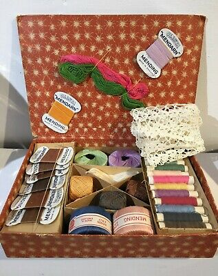 beautiful vintage sewing thread box 1940's barely used, stocking threads etc