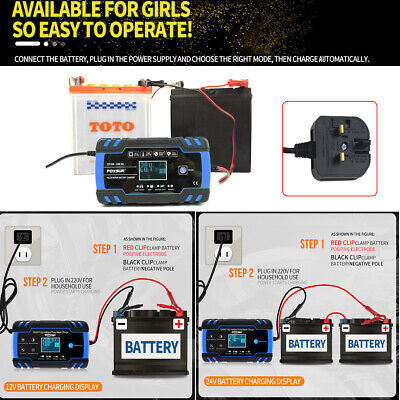 Intelligent Car Battery Charger 8 Amp Pulse Repair Starter 12V/24V AGM/GEL UK