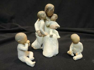 Lot of 3 Willow Tree Figurines Quietly Two Together Mother with Children Twins