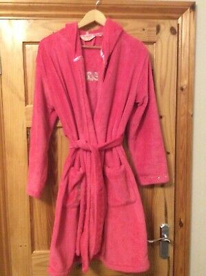 Girls Pink Hooded Dressing Gown Age 14-15 By New Look