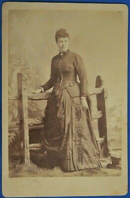Cabinet Photo Woman Embroidered Dress McDonald South Bend Indiana Backstamp