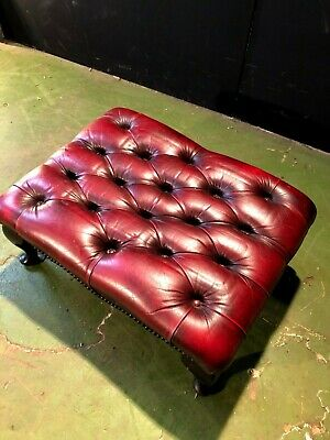 Can Deliver Vintage Oxblood Leather Chesterfield Queen Ann Style Stool Footstool